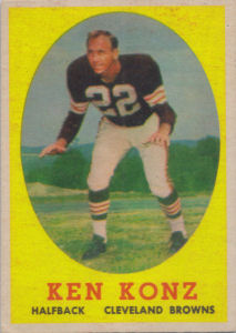 Ken Konz 1958 Topps #26 football card