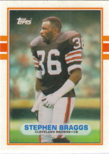 Stephen Braggs Rookie 1989 Topps Traded #127T football card