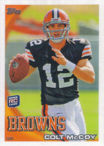Colt McCoy Rookie 2010 Topps #194A football card (Helmet, No Crowd)