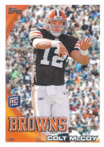 Colt McCoy Rookie 2010 Topps #194C football card (Helmet, Crowd)
