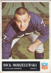 1965 Dick Modzelewski football card with 1964 Statistics