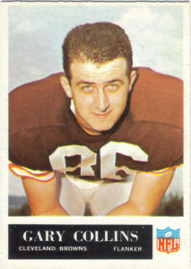 1965 Gary Collins football card with 1964 Statistics