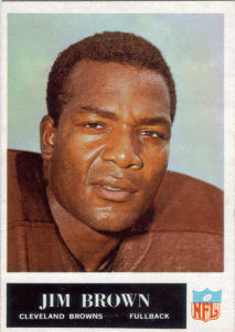 1965 Jim Brown football card with 1964 Statistics