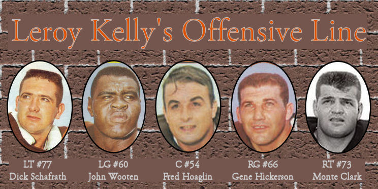 Brick Wall with pictures of Browns Offensive Line members linking to article
