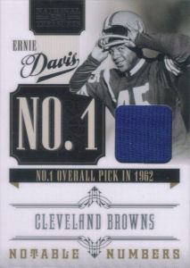2010 Ernie Davis Panini Playoff National Treasures Notable Numbers Materials #16 football card - Serial no. 30/99