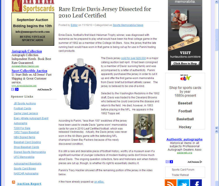 Article on the Ernie Davis College All Star Game Jersey