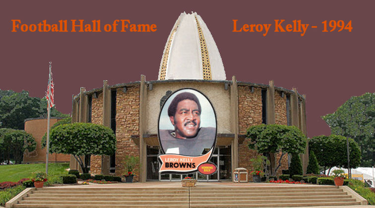 1970 Leroy Kelly Topps Football Card on Canton Football Hall of Fame building and linking to the Hall of Fame website article on Leroy Kelly