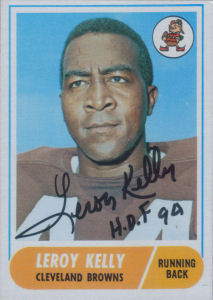 Leroy Kelly 1968 card with his autograph
