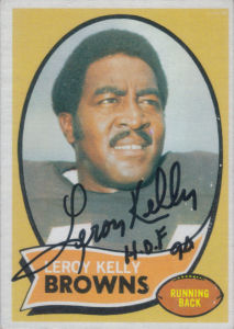 Leroy Kelly 1970 card with his autograph
