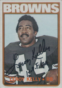 Leroy Kelly 1972 card with his autograph
