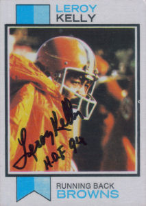 Leroy Kelly 1973 card with his autograph