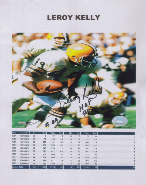 Autographed Photo of Leroy Kelly with his career stats
