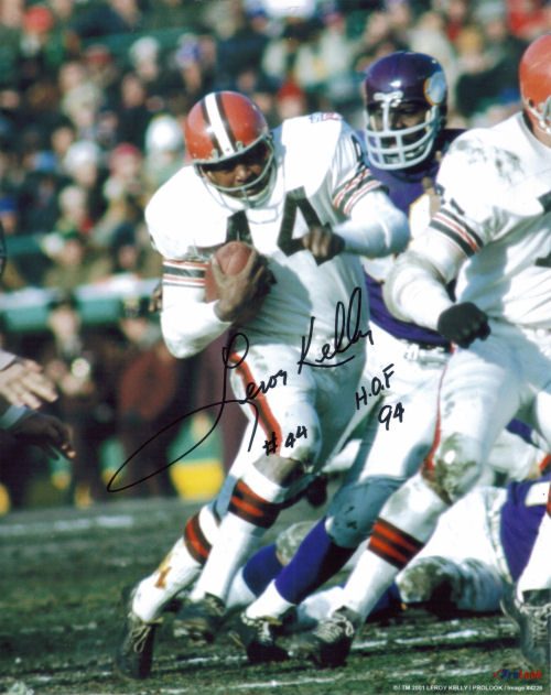 Autographed Photo of Leroy Kelly running against the Vikings and their Purple People Eaters defense