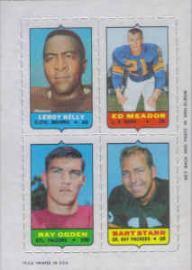 1969 Leroy Kelly Topps Four-in-One football card