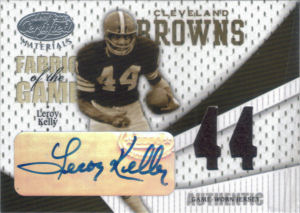 2004 Leroy Kelly Donruss Leaf Certified Autograph GAME-WORN Jersey Fabric of the Game #FG-63 football card - Serial no. 10/44