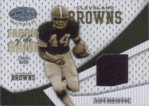 2004 Leroy Kelly Donruss Playoff Leaf Certified Materials fabric of the game #FG-63 football card - Serial no. 096/100