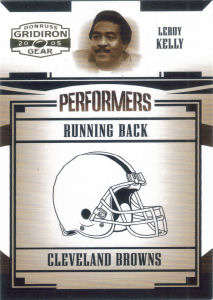 2005 Leroy Kelly Donruss Gridiron Gear Performers Gold #P-33 football card - Serial no. 315/500