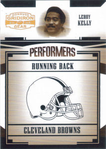 2005 Leroy Kelly Donruss Gridiron Gear Performers Gold Holofoil #P-33 football card - Serial no. 079/100
