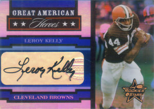 2005 Leroy Kelly Donruss Leaf Rookies and Stars Great American Heroes AUTOGRAPHS #GAH18 football card - Serial no. 49/75