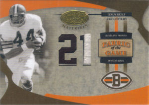 2005 Leroy Kelly Donruss Leaf Certified Materials Fabric of the game 21st CENTURY #FG-49 football card - Serial no. 12/21