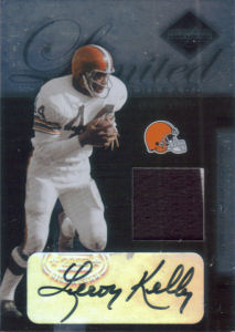 2005 Leroy Kelly Donruss Leaf Limited Threads Prime JERSEY/AUTOGRAPH #LT-70 football card - Serial no. 24/25