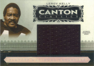 2006 Leroy Kelly Donruss Playoff National Treasures Canton Classics JUMBO GAME-WORN Jersey #CC-LK football card - Serial no. 02/10