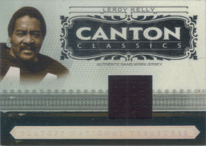 2006 Leroy Kelly Donruss Playoff National Treasures Canton Classics MATERIALS GAME-WORN Jersey #CC-LK football card - Serial no. 48/50