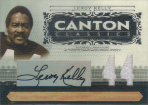 2006 Leroy Kelly Donruss Playoff National Treasures Canton Classics MATERIALS SIGNATURE JERSEY NUMBERS GAME-WORN JERSEY #CC-LK football card - Serial no. 12/44