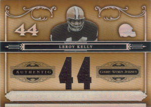2006 Leroy Kelly Playoff National Treasures Material GAME-WORN Jersey Numbers #24 football card - Serial no. 18/44