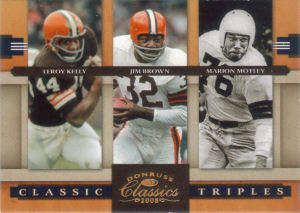 2008 Leroy Kelly Donruss Classics Classic Triples GOLD #CT-2 football card - Serial no. 018/100
