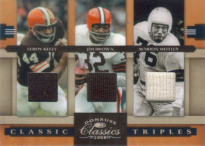 2008 Leroy Kelly Donruss Classics Classic Triples GAME-WORN JERSEYS #CT-2 football card - Serial no. 014/75