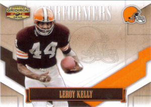 2008 Leroy Kelly Donruss Gridiron Gear Performers Gold Holofoil #P-29 football card - Serial no. 008/100