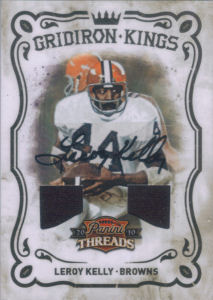 2010 Leroy Kelly Panini Threads Gridiron Kings Materials Autographs #47 football card - Serial no. 02/20