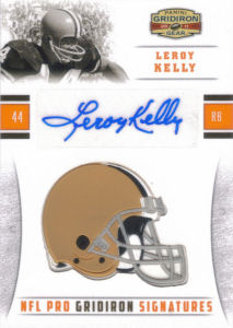 2011 Leroy Kelly Panini Gridiron Gear NFL Pro Gridiron Signatures #37 football card - Serial no. 03/30