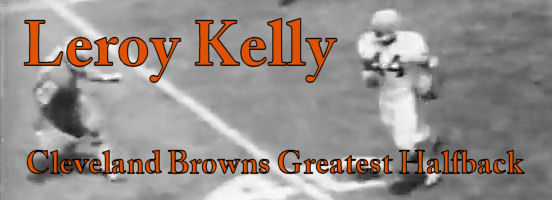 Leroy Kelly dot com Title Box with a black and white image of Leroy Kelly running the football